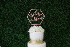 Laser Cut Geometric Mr & Mrs Wedding Cake Topper by LetsTieTheKnot