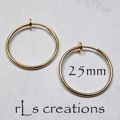 Hoop Earrings 25mm Non-Pierced Gold Plated Brass  by rlscreations (Craft Supplies & Tools, Jewelry & Beading Supplies, Findings & Hardware, non pierced, clip on earrings, hoop earrings, brass, light, comfortable, fashionable, spring, gold plated, goldplate, 25mm, 25 mm)
