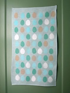 Bird Egg linen tea towel on aqua by giardino on Etsy