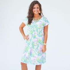 Ladies Custom Print White Lighthouse Lauren Dress