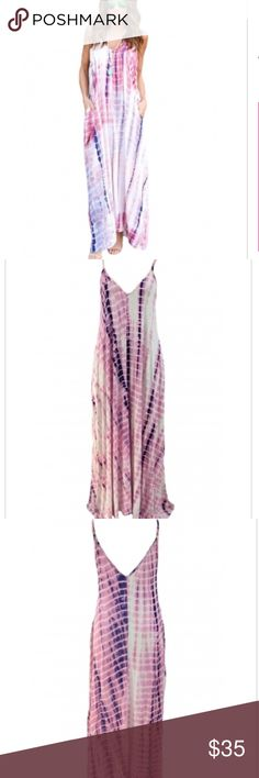 Pink tie dye maxi dress pocketed Medium NWOT NEW Pink tie dye maxi dress pocketed Medium NWOT NEW Dresses Maxi