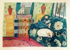 Helen Mudge, Interior with Dogs on ArtStack Gouache, Dog Cat, Africa, Paintings, Cats, Interior, Artwork, Artist, Gatos