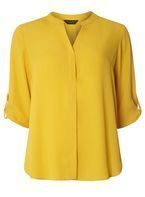 Womens Ochre Roll Sleeve Shirt- Orange
