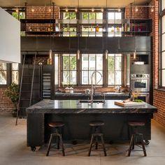 Industrial Bei Houzz: Loft Style Wohnen Dank Industrial Chic Industrie  Küche, Funktionelle Küche
