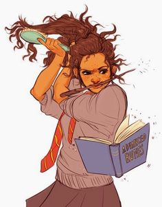 """Hermione's hair was bushy again; she confessed to Harry that she had used liberal amounts of Sleekeazy's Hair Potion on it for the ball, ""but it's way too much bother to do every day,"" she said matter-of-factly, scratching a purring Crookshanks behind the ears."""