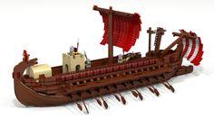 LEGO Roman Bireme (L.) - Hobbies paining body for kids and adult Cool Lego, Awesome Lego, Lego Age, Lego Boat, Lego Ship, Building Illustration, Lego Castle, Lego Worlds, Chula