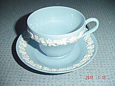 Wedgwood Blue (Lavender) Embossed Queen's Ware Cups/Saucers (Wedgwood) at Dinnerware Replacements