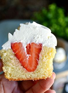 Put the flavors of strawberry shortcake in cupcake form for a lighter-than-air fruity dessert. Get the recipe at Lady Behind The Curtain.   - CountryLiving.com