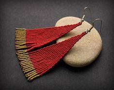 Dark red seed bead earrings Unusual bohemian earrings Long