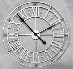 Invite this charming antique French wall clock into your home and brighten up your walls. From our ever expanding range of home accessories, this clock will astound. Silver Wall Clock, Big Wall Clocks, Silver Walls, Kitchen Wall Clocks, Metal Clock, Extra Large Wall Clock, Skeleton Wall Clock, How To Make Wall Clock, Iron Wall