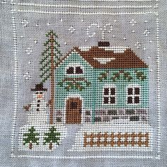 Frosty Forest - Snowman's Cottage (Country Cottage Needleworks) Cat Cross Stitches, Sewing Stitches, Cross Stitching, Cross Stitch Embroidery, Cross Stitch House, Xmas Cross Stitch, Cross Stitch Designs, Cross Stitch Patterns, Christmas Cross