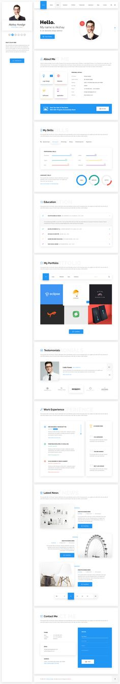 Hello - Resume, CV, vCard & Portfolio Material PSD Template by webstrot
