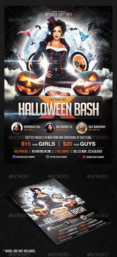 Halloween Bash Flyer Template PSD #design Download: http://graphicriver.net/item/the-black-halloween-psd-flyer-template/3189775?ref=ksioks