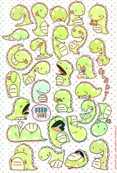 Kaiami | Gordy the Dinosaur Sticker Sheet | Online Store Powered by Storenvy
