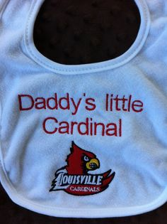 Louisville Cardinals - Girl or Boy Personalized College Football Bib-Burp Cloth on Etsy, $10.00 #babybib #gocards