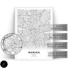 city maps printable wall art