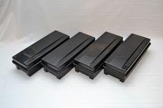 ALPHA-AudioTape-Box-15-24-AUDIO-CASSETTE-TAPE-Holder-Black-Storage-Set-of-4
