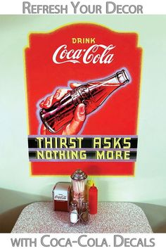 Coca-Cola Things Go Better Distressed 1960s Wall Decal 9 x 24 Vintage Style