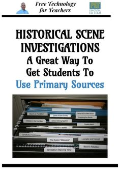 "Historical Scene Investigation contains thirteen cases in which students analyze ""clues"" found in primary sources in order to form a conclusion to each investigation. History Teachers, Teaching History, Co Teaching, Teaching English, Cult Of Pedagogy, Social Studies Classroom, Instructional Coaching, Primary Sources, Environmental Education"