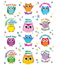 Carson Dellosa Colorful Owl Motivators Motivational Stickers Students will love getting this cute, playful and encouraging Colorful Owl Motivator Stickers. Includes 12 different owl stickers with various designs and motivating words! 72 stickers in all! Reward Stickers, Teacher Stickers, Cute Stickers, Calendar Stickers, Owl Classroom Decor, Classroom Teacher, Kindergarten Classroom, Classroom Behaviour, Classroom Ideas