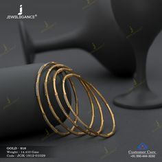 Kadli Bangles gms) - Fancy Jewellery for Women by Jewelegance Gold Bangles Design, Gold Earrings Designs, Gold Jewellery Design, Gold Mangalsutra Designs, Necklace Designs, Gold Jewelry Simple, Silver Jewelry, Bangle Set, Bangle Bracelets