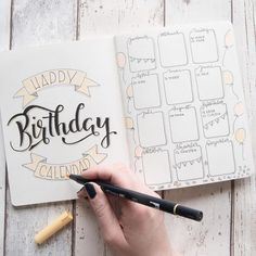 Happy Birthday Calendar - Lettering by jane_carrot for the Letter Lovers - Schreibideen - Bullet Journal School, Bullet Journal Inspo, Bullet Journal Birthday Tracker, Bullet Journal Cover Page, Bullet Journal 2019, Bullet Journal Notebook, Bullet Journal Aesthetic, Bullet Journal Spread, Bullet Journal Layout