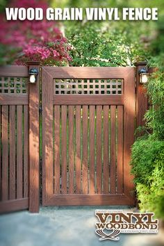 "This terrific Illusions Vinyl Fence CUSTOM VWG5215SQ-46 gate with 7/8"" x 3"" pickets and square lattice is shown in Grand Illusions Vinyl WoodBond Rosewood (W104). This particular customer had a cool fun backyard idea to put lights in their fence. FYI - Illusions brand does not carry lights for installation. Consult with a licensed electrician prior to attempting. :) #fence"