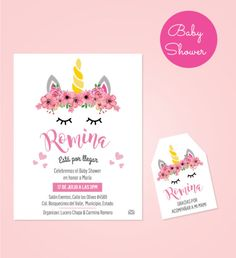 Diseño de Invitación + tarjeta de agradecimiento para Baby Shower Unicornio