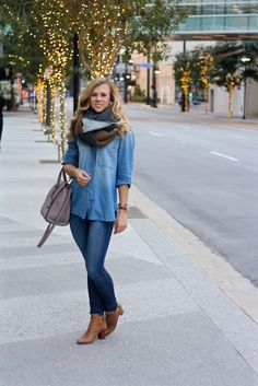 4 Ways to Tie Your Blanket Scarf | Fall Fashion | Winter Fashion | Chambray | Denim on Denim