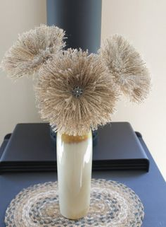 3 Handmade Burlap Flowers Shabby Look Decor Wedding by Mugnique