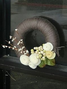 Handcrafted from a straw base and wrapped in polyfill before being wrapped again in yarn. Flowers are wool Merino felt. Made to endure over time in a special place in your heart and home. Felt Wreath, Diy Wreath, Yarn Wreaths, Ribbon Wreaths, Tulle Wreath, Floral Wreaths, Burlap Wreaths, Door Wreaths, Yarn Crafts