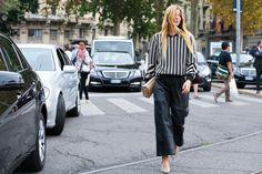 Fashion Week Spring/Summer 2015 Street looks: Stripes Fashion Week, Paris Fashion, Girl Fashion, Fashion Trends, Street Fashion, Street Looks, Street Style, Milan, New York Street