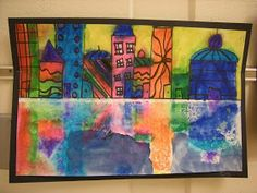 WHAT'S HAPPENING IN THE ART ROOM??: 2nd Grade Cityscape Reflections