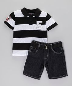 Loving this Black Polo & Belted Shorts - Infant, Toddler & Boys on #zulily! #zulilyfinds
