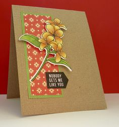 handmade card from Nonni's Handmade Cards ... kraft with warm colors ... clean and simple design ... lovely semi-retro look ...