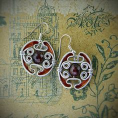 Handmade Earrings from Nespresso capsules Natural mineral gemstone Will be supplied with unique package box.  серьги ручной работы из капсул Неспрессо Камешек - рубин 3-го уровня качества Упакованы в оригинальной коробочке ручной работы  Reduced shipping costs on multiple buying