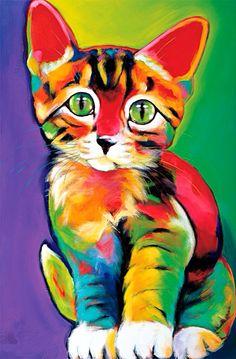 Amazing And Dynamic Art~ Green Eyed Kitten