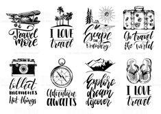 Vector conjunto de Letras con frases sobre viajar y bocetos de los símbolos turísticos de la mano. vector conjunto de letras con frases sobre viajar y bocetos de los símbolos turísticos de la mano - arte vectorial de stock y más imágenes de viajes libre de derechos