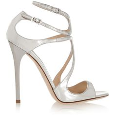 Jimmy Choo Lance metallic leather sandals ($805) ❤ liked on Polyvore featuring shoes, sandals, heels, high heels, sapatos, silver, strap high heel sandals, high heel sandals, strap sandals and jimmy choo shoes