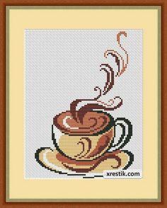 Чашка кофе. Платная схема для вышивки чашечки кофе. Размер в крестиках: 83х105. Ткань: Aida 14, белого оттенка. Нити: DMC, 6 оттенков. Цена: 35 руб (15 грн). Чтобы заказать схему, пишите на почту: zakaz@xrestik.com