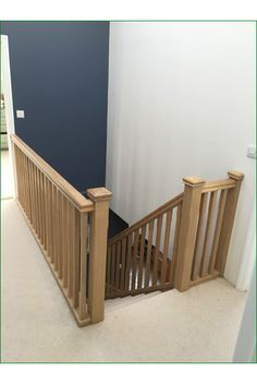 Marley Lane Staircase - This is a great example of an American white oak, single-winder staircase completed with stop-chamfered newel posts, pyramid newel caps and stop-chamfered spindles. Foyer Staircase, Staircase Storage, Curved Staircase, Stairs And Doors, Open Stairs, Stair Handrail, Banisters, Interior Window Trim, Faux Stone Panels