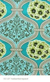 Aqua and lime printed fabric