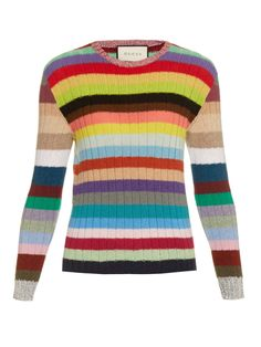 Rainbow-striped cashmere and wool-blend sweater by Gucci | Shop now at #MATCHESFASHION.COM