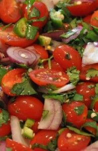 Fresh & Spicy Tomato Salad (great for all phases) Reminder Phase 1-2 dieters can only have tomatoes twice a week!  Ingredients:     1 pint of grape tomatoes sliced in half     1/2 bunch of cilanto chopped     1 finely chopped jalapeno pepper     1/2 red onion diced     salt and pepper to taste  Directions:  Combine all ingredients and chill for at least 1 hour or until  ready to serve