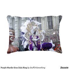 Purple Mardis Gras Zulu King Accent Pillow