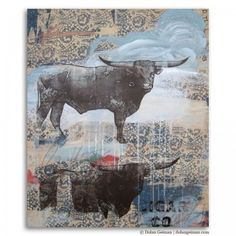 Longhorn in Blue, Wooden Sketchbook Collection, Dolan Geiman - Mixed Media #Art