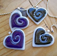 Fused Glass Heart Pendant black by artisticflair on Etsy