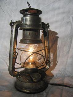 Convert a kerosene lantern into an electric lamp. Yes!