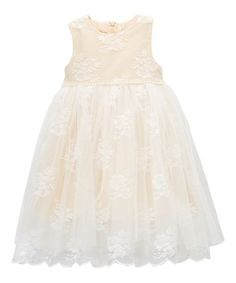 Look what I found on #zulily! Blush Lace Bow-Accent A-Line Dress - Toddler & Girls #zulilyfinds