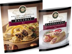 Roasted portabella mushroom and seafood cannelloni package designs were inspired by wine labels and showcase the upscale product Food Design, Best Frozen Meals, Packaging Suppliers, Food Packaging Design, Packaging Ideas, Design Brochure, Filling Food, Design Poster, Branding